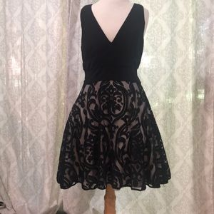 Xscape black velvet party dress with sheer sides